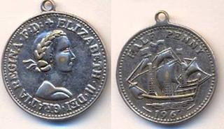 Half penny coin pendant