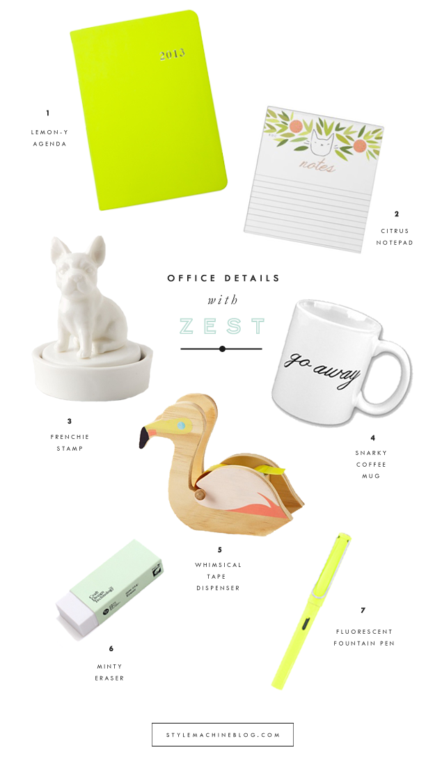Colorful and whimsical accessories to brighten up your office this summer