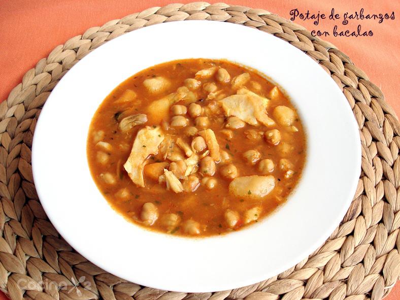 Cocinax2 las recetas de laurita potaje de garbanzos con - Potaje de garbanzos y judias ...