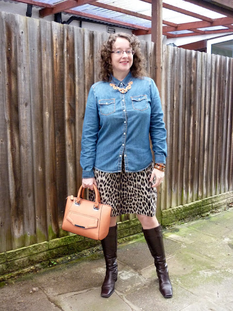 Leopard Print, Denim Shirt, Coral Necklace & New Look Bag | Petite Silver Vixen