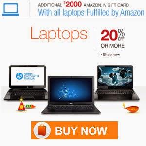 Amazon: Buy Laptops upto 40% off + Free Rs. 2000 Gift Card + 10% SBI Cashback