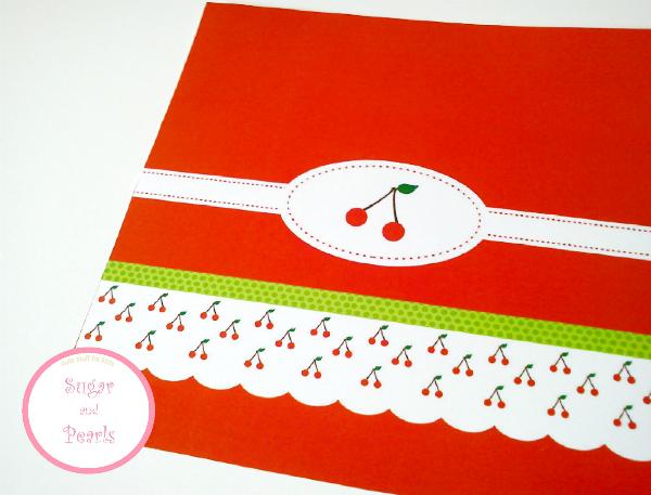 Προσκλητήριο κόκκκινο με κερασάκια-by Sugar & Pearls