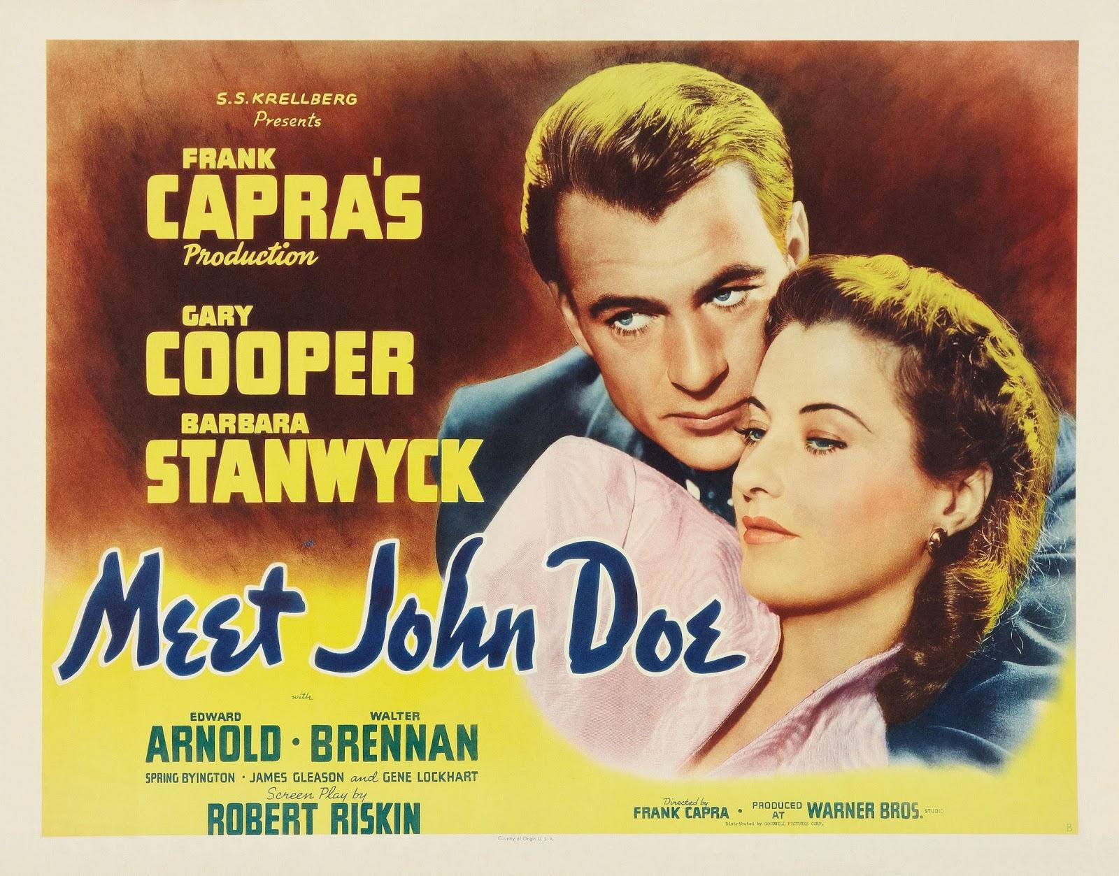 Imagen del cartel original de la película Meet John Doe (Juan Nadie) de Frank Capra