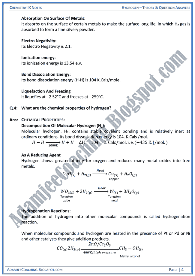 hydrogen-theory-notes-and-question-answers-chemistry-ix