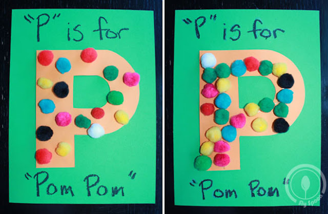 Toddler/Preshooler letter of the week craft P is for Pom Pom with related craft, tracing sheets and fruits/vegetables.
