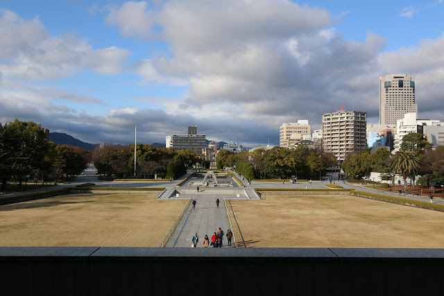 Looking out at Nakajima District (Hiroshima Peace Memorial Park) which was directly hit by the atomic bombing in Japan