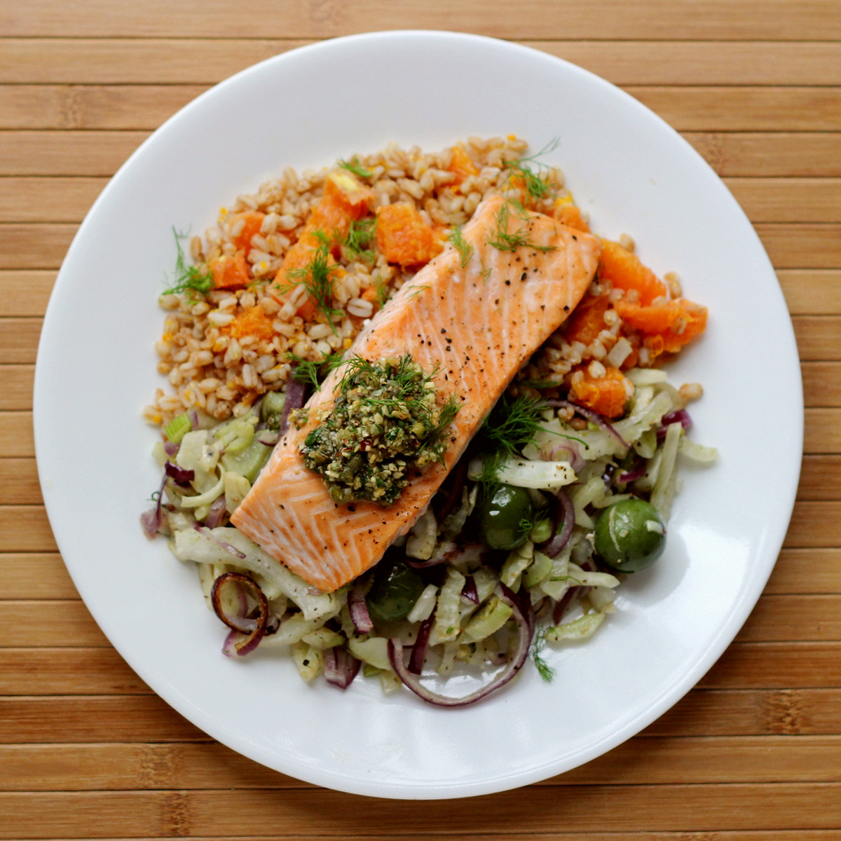 cookistry roasted salmon  fennel olives  farro   review  blue apron