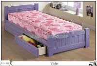 Tempat tidur minimalis laci violet