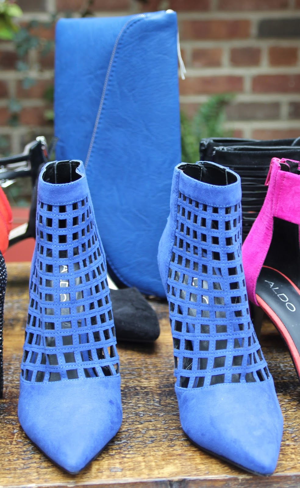 Aldo Circeo-$79.95 DSW price-love this color...pointy toe caged bootie-with  matching clutch