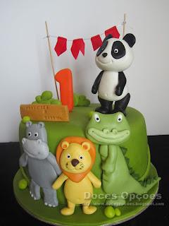 bolo aniversário animais selva