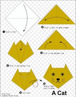 origami paling mudah, origami bentuk binatang, origami berbentuk kucing,