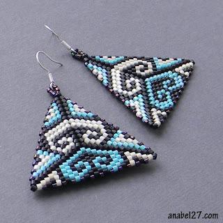 купить украшения ручной работы этно-стиль серьги из бисера анабель