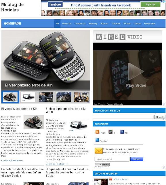Plantilla de Blogger para mi blog de Noticias