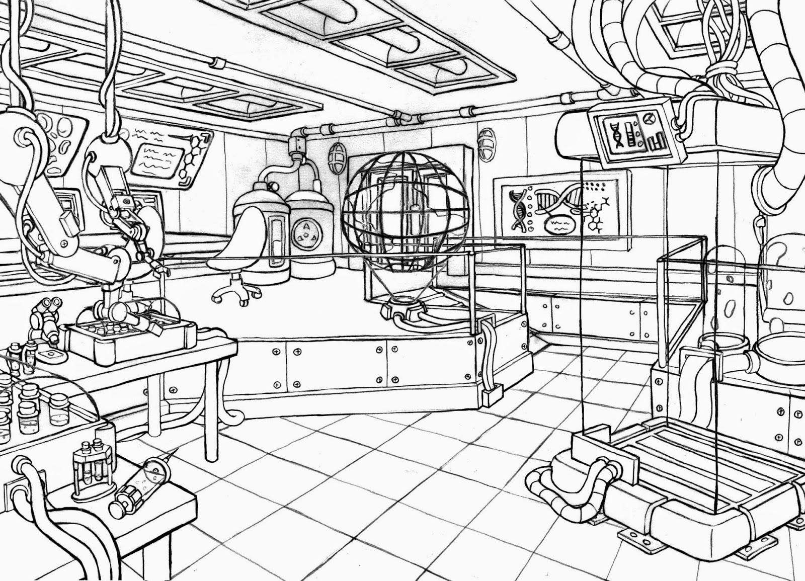 free coloring pages of science lab