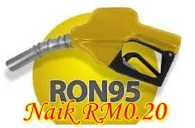 RON95, diesel, naik lagi, harga naik, subsidi dikurangkan RM0.20