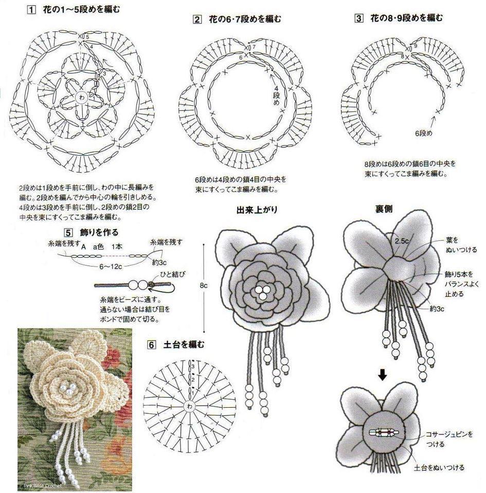 Миниатюрные цветы крючком 100