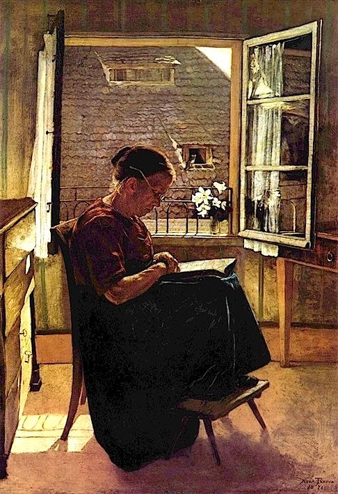 Hans Thoma. Die Mutter des Künstlers im Stübchen. 1870