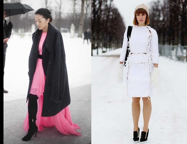 Dos outfit, el primero con vestido de gasa y el segundo con vestido de Stella McCartney