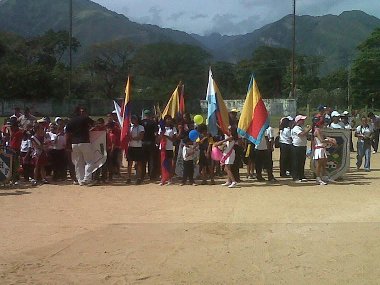 Llegada de las delegaciones al estadio Carlos Ortiz