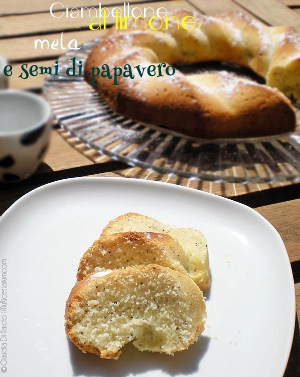 Ciambellone al limone, mela e semi di papavero