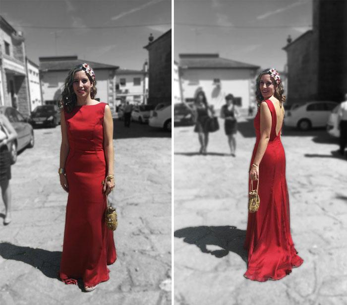 invitada perfecta boda comunión. Vestido rojo largo con escote en espalda. Dama de honor