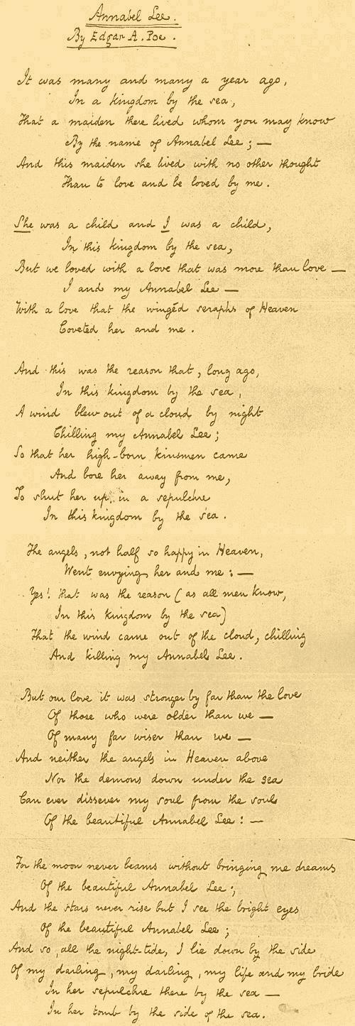 "Bài thơ Annabel Lee của Edgar Poe. Annabel Lee là ""tiền thân"" của Lolita."