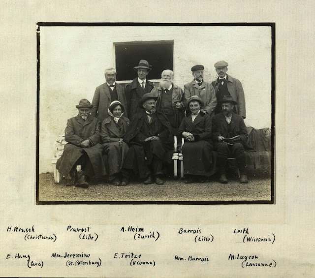 he British Association for the Advancement of Science Meeting, Dundee 1912. Assynt Excursion 11th 18th September 1912. Outside the Inchnadamph Hotel. Overseas participants.