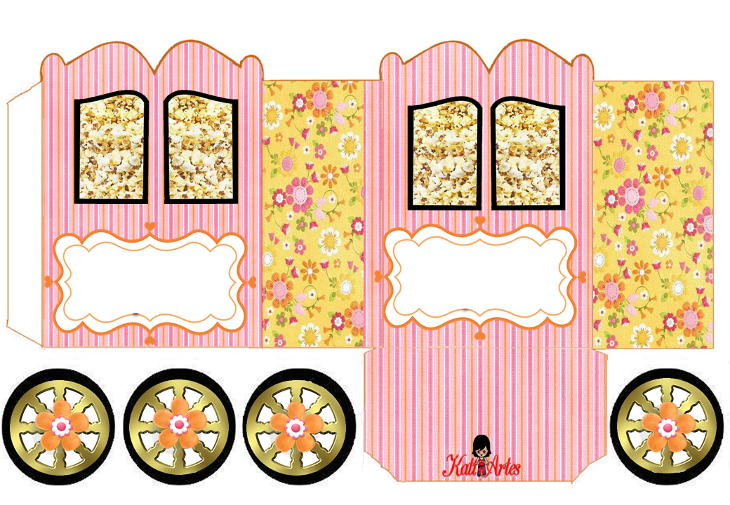 Flowers: Princess Carriage Shaped Free Printable Box.