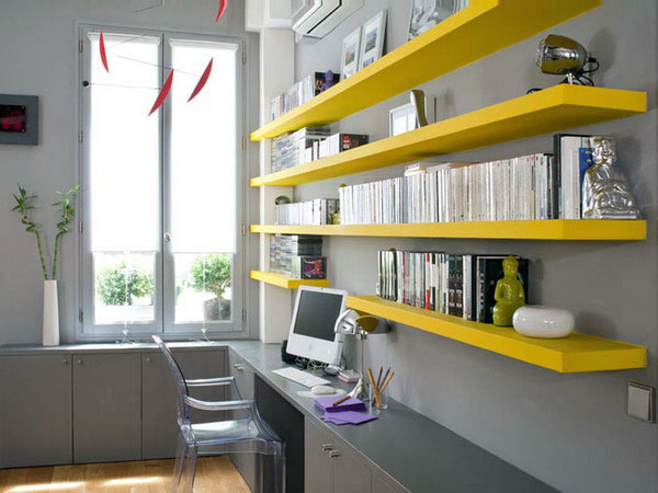 decora o home office com prateleiras cores da casa