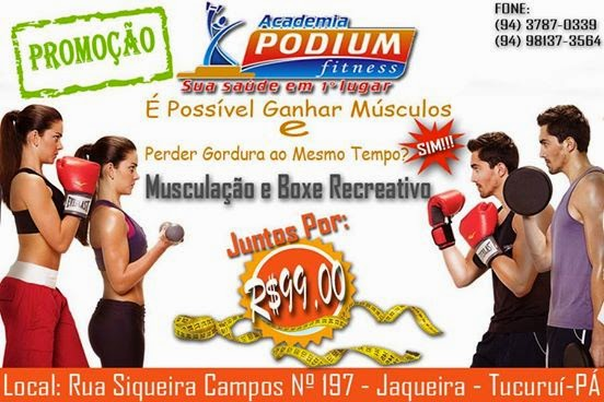Promoção de Verão da Academia Podium - Musculação e Box Recreativo apenas R$ 99,00 !!!!