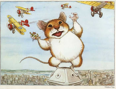Giant mouse as King Kong figure, fighting off biplanes