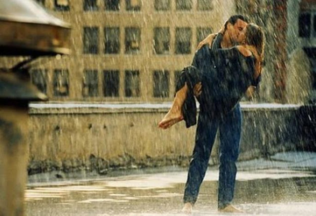 couple kissing in rain quotation and saying