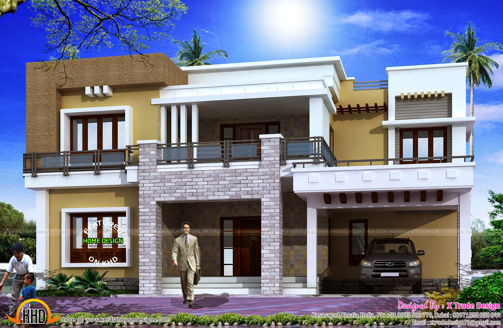 Different views of 2800 sq ft modern home kerala home for Home front design photo