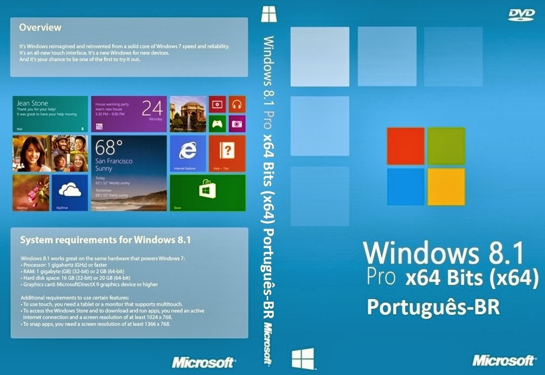 Windows 8.1 PRO x64 Bits Português-BR DVD Capa