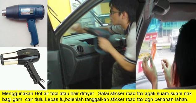 tips cara tanggal pasang road tax cermin kereta