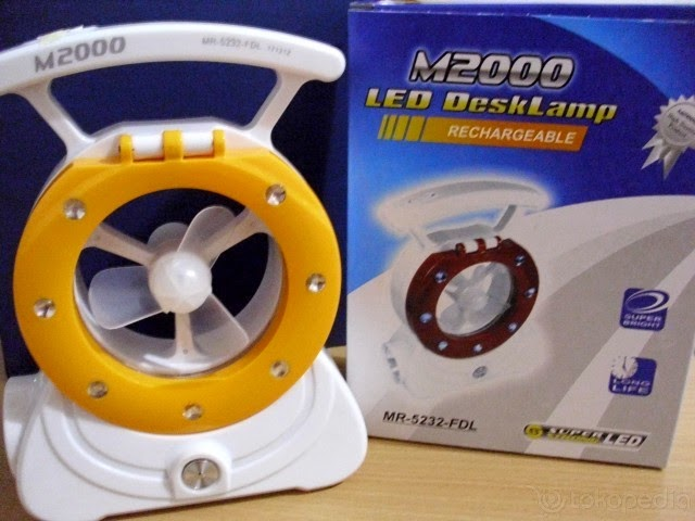 M2000 Led DeskLamp [Lampu Emergency 3in1] + kipas angin