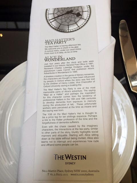 High Tea The Westin Hotel Mad Hatter Alice In Wonderland Afternoon Tea Menu