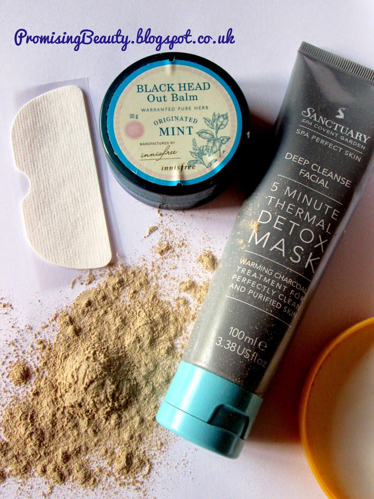 nose strip, bentonite clay, deep cleanse pore mask and innisfree blackhead out balm