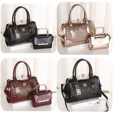 GIVENCHY BAG ( 3 IN 1 SET ) - BLACK , GOLD , MAROON