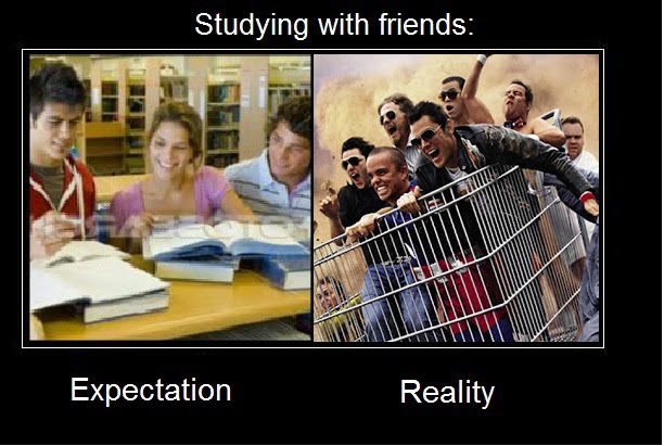 study with friends expectation vs reality funny pictures quotes