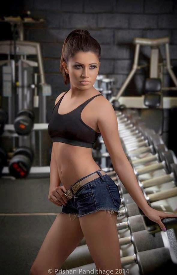 Oshadi Himasha at gym shorts