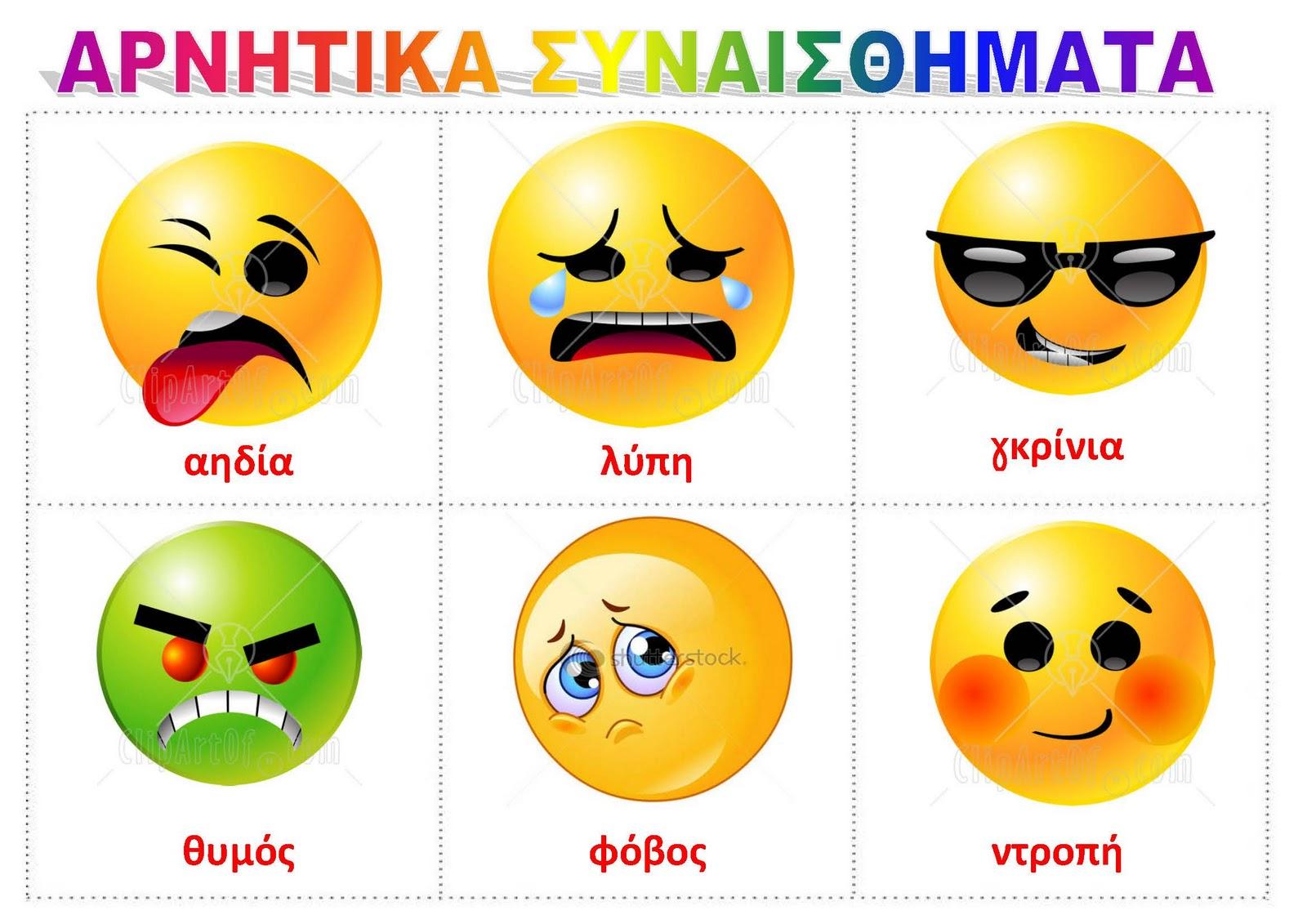 Τα συναισθήματα - λίστες αναφοράς για
