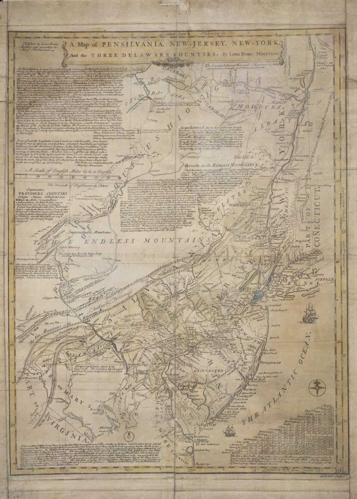 north america 1776 notes evans 1749 map as printed at philadelphia 1749 distance table ms note 18212 prime meridian london philadelphia