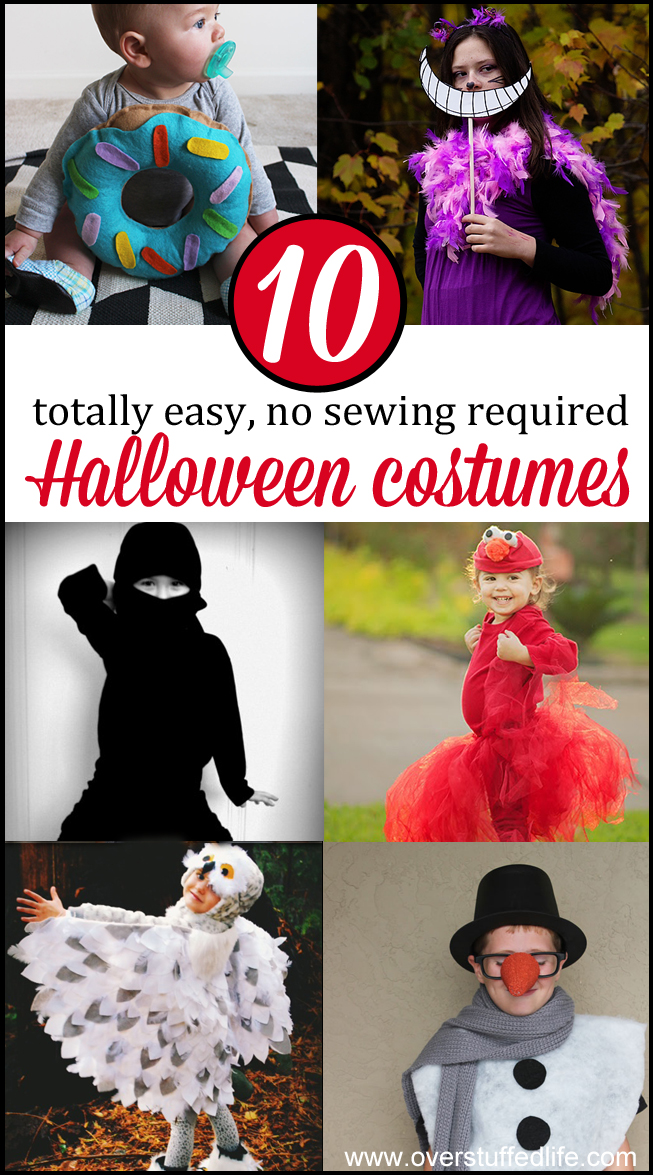 Too busy to make an elaborate Halloween costume for your kids this year? Try one of these super easy, no sew costumes! #overstuffedlife