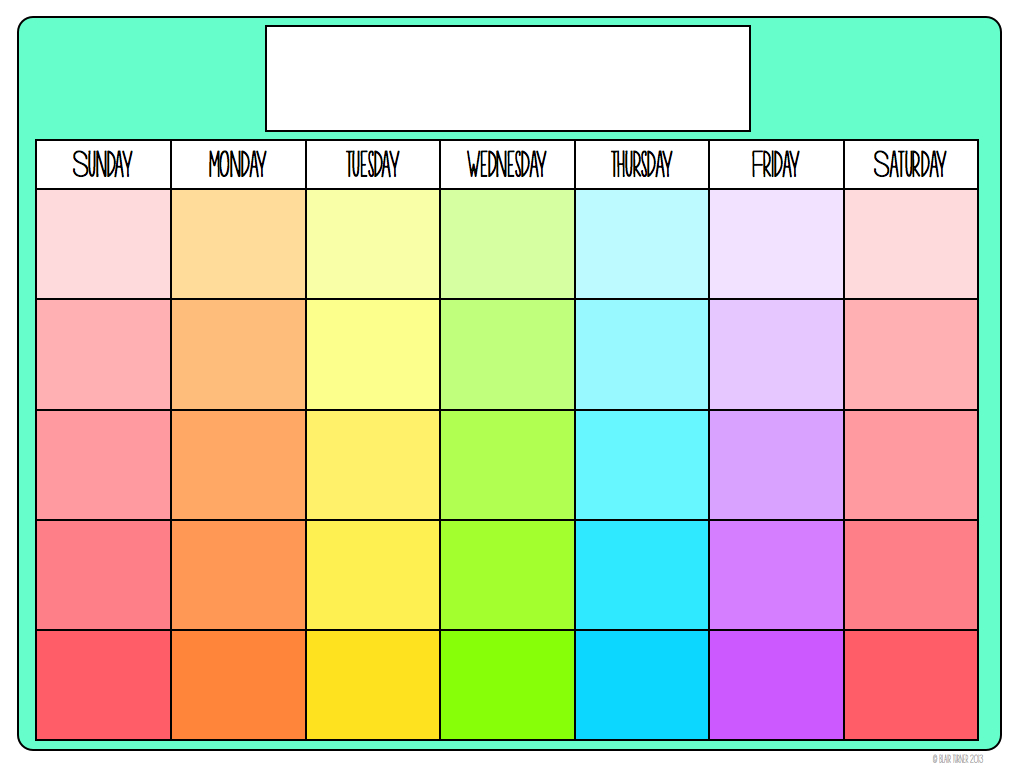 Blank Colorful Calendar Printable Calendar Template 2016