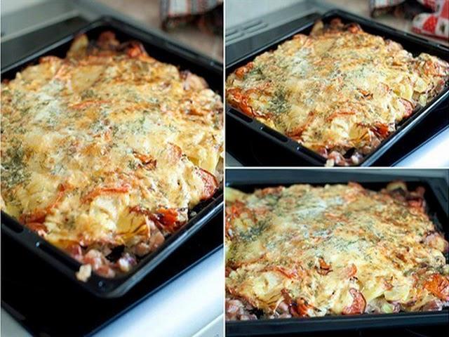 Картофельная запеканка с кусочками мяса