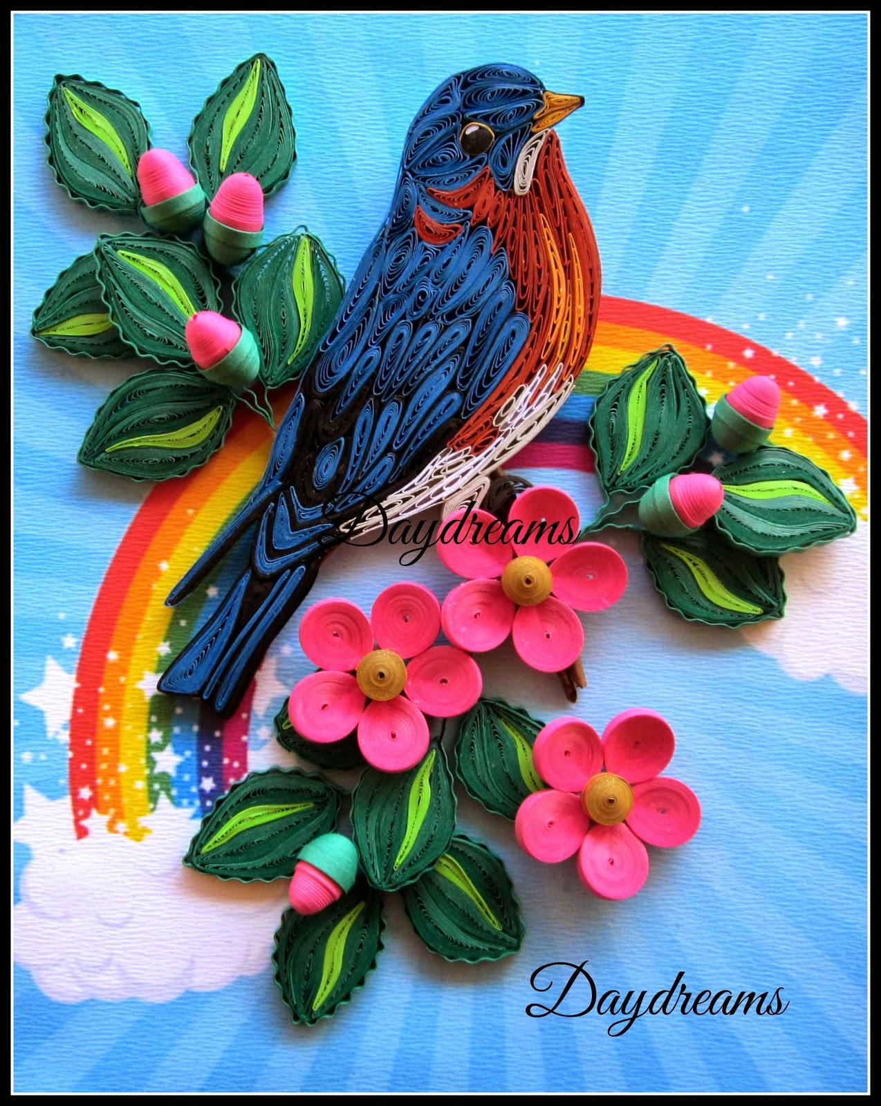 Calendar Wallpaper Quilling : Daydreams quilled blue bird
