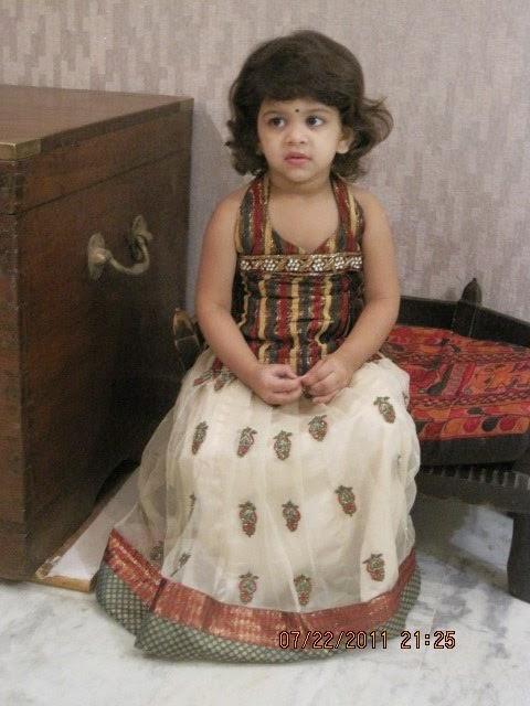 Baby in Cream Net Skirt