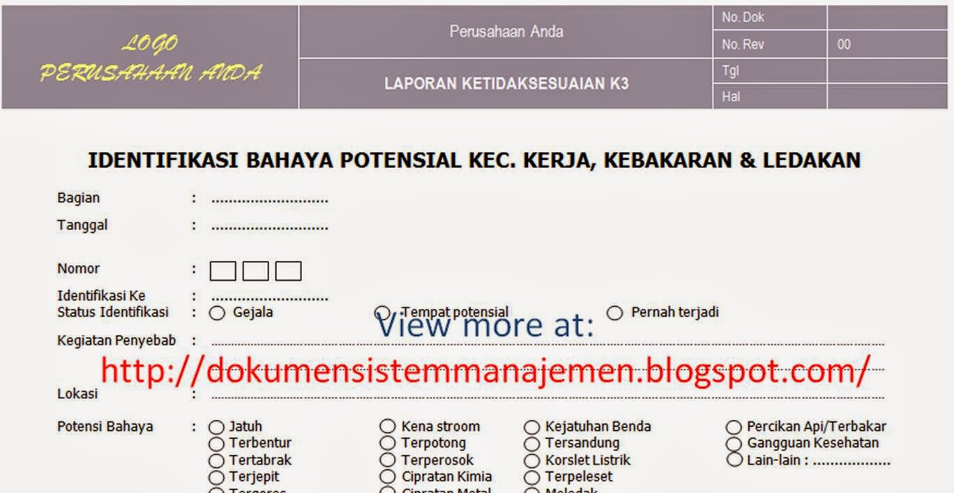 form laporan permintaan tindakan perbaikan lampiran form laporan