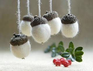 giveaway white felted acorns
